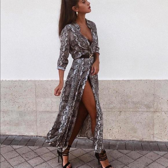 e32416ed Zara snakeskin print long dress NWT